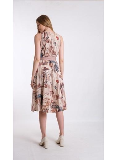 JEANNE D'ARC A Form Desenli Beli Kuşaklı Keten Kumaş Elbise Je545317 Kahve